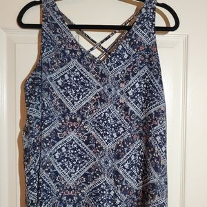 Maurices navy printed tank top